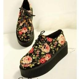 Retro Floral Creeper Shoes