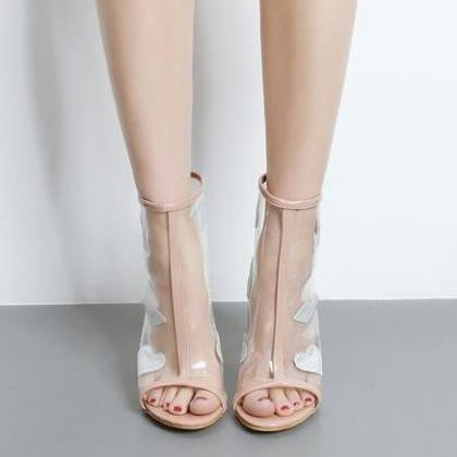 Peep-Toe Transparent Block Heel Ank..