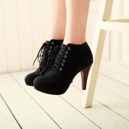 Round Toe Lace-up Ankle Boots with ..