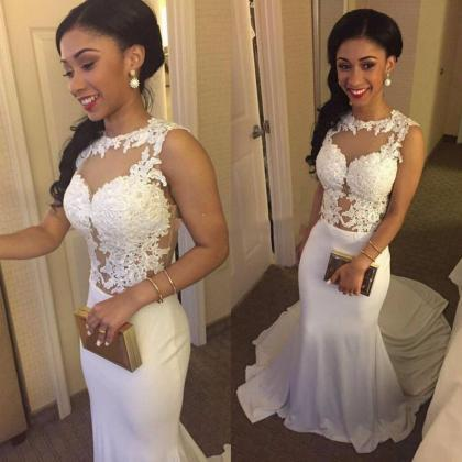 Ulass White Prom Dresses, Mermaid P..