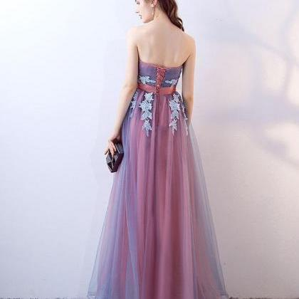 Gray blue tulle long prom dress, gr..