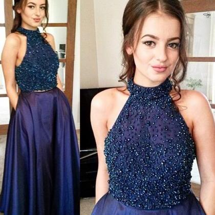 Halter Floor-Length Prom Dresses,Na..