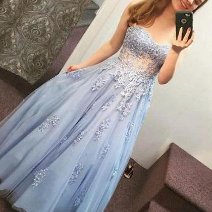 Blue Sweetheart Lace Long Prom Dres..