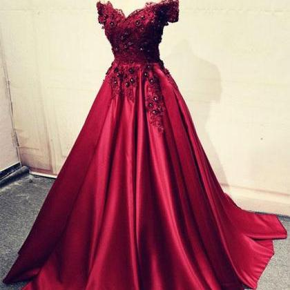Burgundy Lace Off Shoulder Satin Pr..