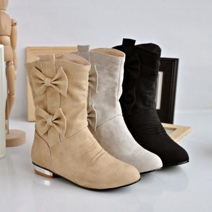 Ulass Round sleeve casual shoes bow..