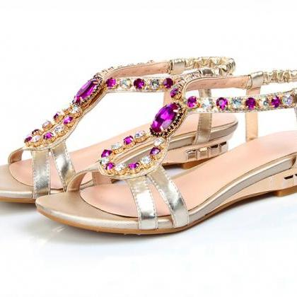 Ulass Sweet rhinestone flat sandals
