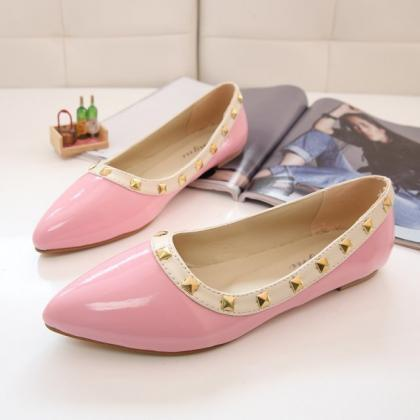 Pastel Coloured Pointed Toe Studded..