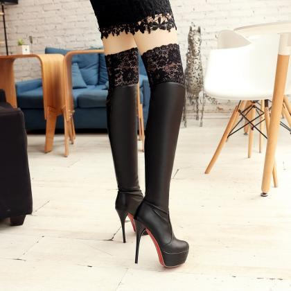 e83dc018f94 Ulass Hot Sale 2016 Brand Spring Lace Over The Knee Boots High Heels ...