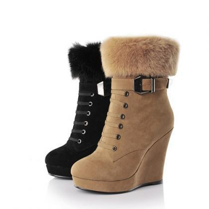 Ulass Women Boots Platform Wedge Bo..
