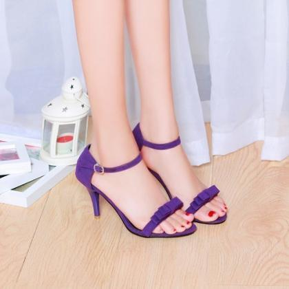 Open-Toe Bow Accent Ankle Strap Sti..