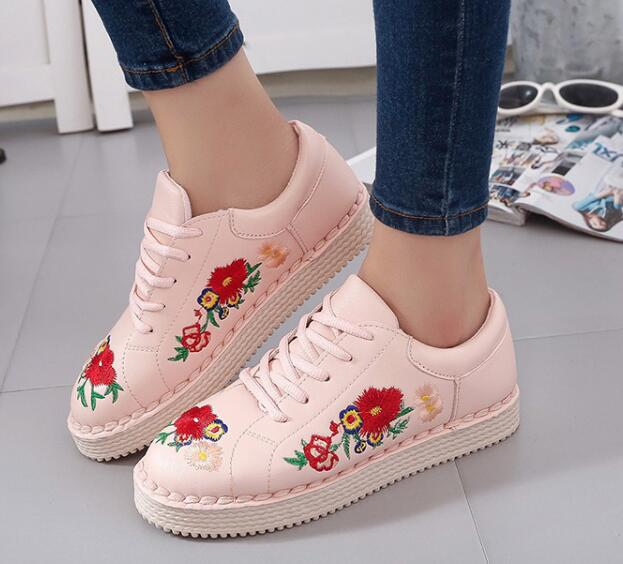 Ulass Floral Embroidered Faux Leather Sneakers