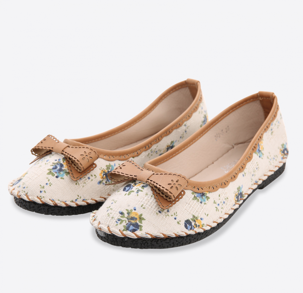 Floral Printed Canvas Ballerina Pumps with Ribbon
