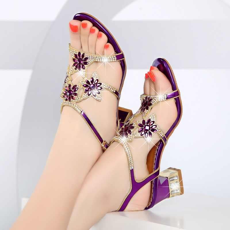 Ulass 2017 New Summer Sandals Female High-Heeled Shoes with Leather Heels Diamond Diamond Rough Heels