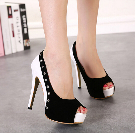 Ulass Black and White Peep toe Rivet High Heel Sandals ST-132