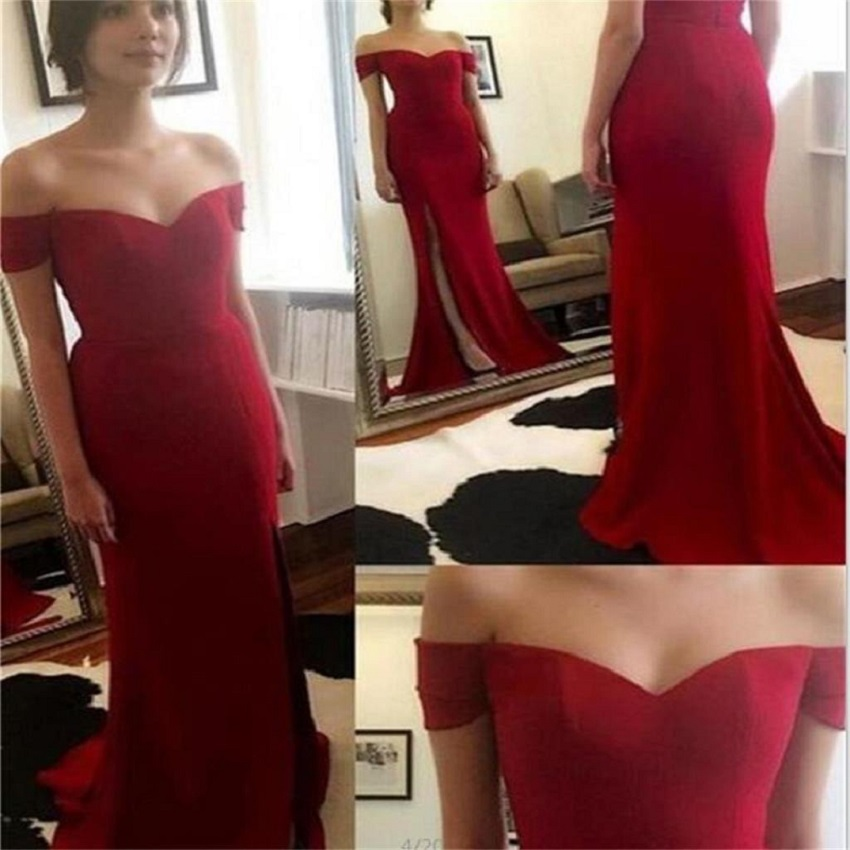 Ulass Red Off Shoulder Side Slit New Arrival Party Cocktail Evening Long Prom Dresses Online