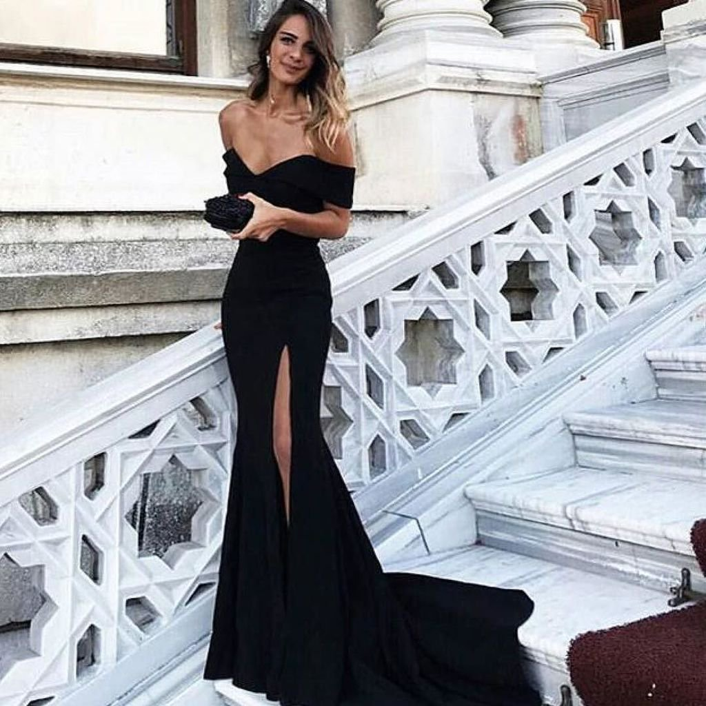 95d7bd816a9 Ulass Sexy Leg Slit Long Mermaid Evening Dress Off Shoulder Prom Gowns  Black Prom Dresses