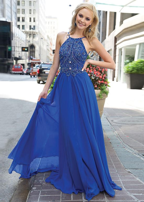 Ulass Unique Royal Blue Graduation Dress,Royal Blue Long Chiffon ...