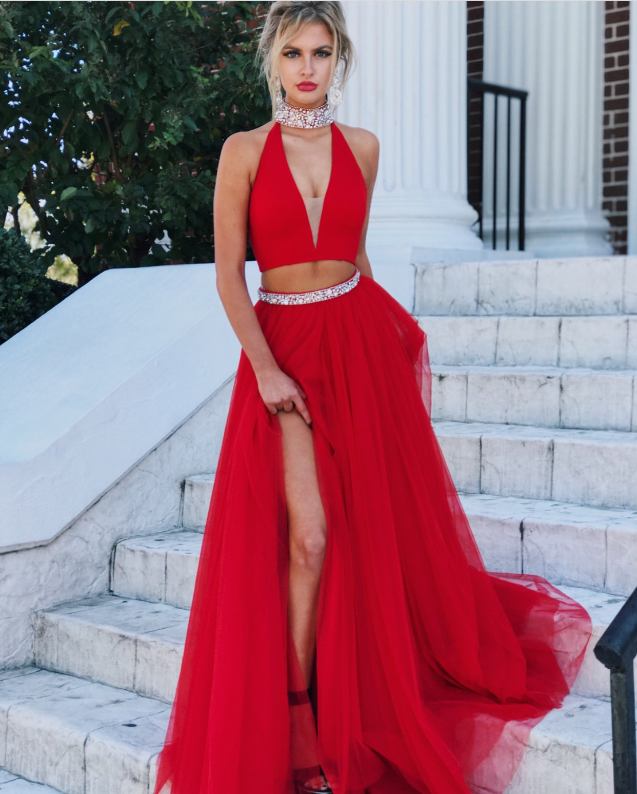 33ef06f6e552 Ulass 2018 Prom Dresses,Red Evening Gowns,Two Piece Prom Dress,High Neck Prom  Dress,Tulle Prom Dress,Deep V-neck Prom Dress,Hot Sale Prom Dress
