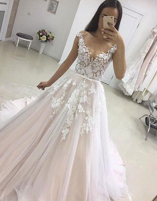 Ulass Charming Long Tulle Lace Prom Dresses, A-line Prom Dreses, Sexy Evening Dress, Lace Prom Evening Dress, Woman Formal Dresses