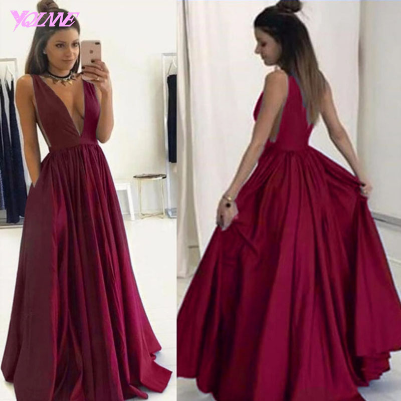 Wine Red Prom Dresses,Sexy Dresses,Deep V-Neck Dresses,Long Party Dresses,Runway Fashion Dress,Red Carpet Dress,Prom Gown