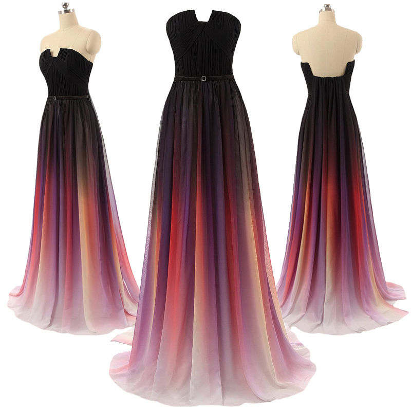 Gradient Ombre Maxi Chiffon Long Formal Prom Dress 2443cd474