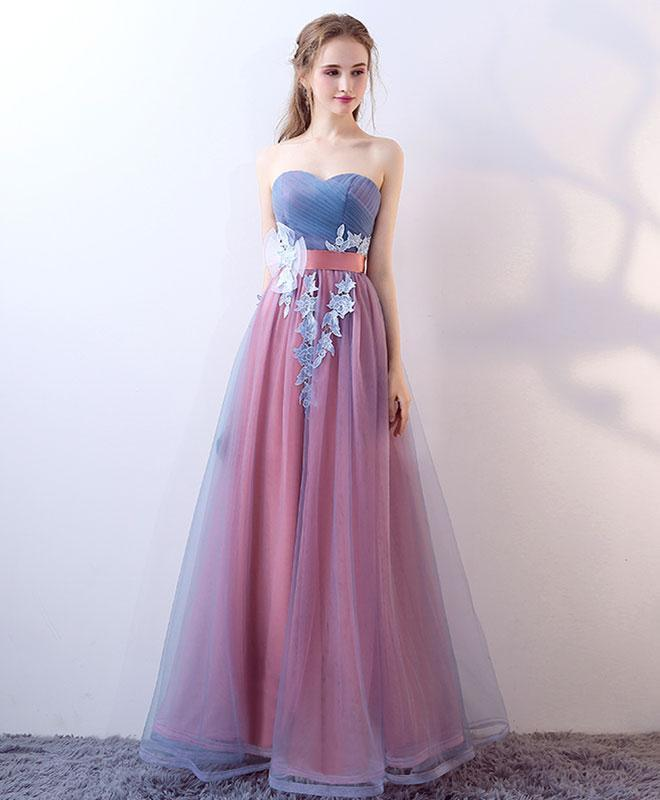 Gray blue tulle long prom dress, gray blue evening dress