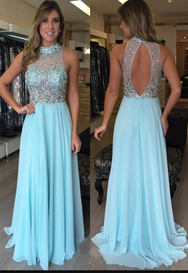 Light Blue Prom Dress,Prom Dress Open Back, Long,Cheap Prom Dress ...