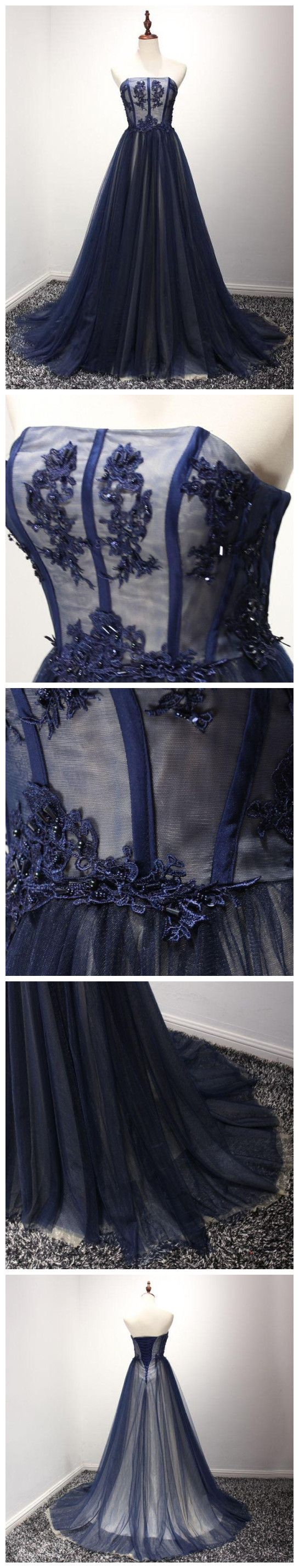 A-LINE, STRAPLESS, DARK NAVY, TULLE, SIMPLE PROM DRESS, EVENING DRESS