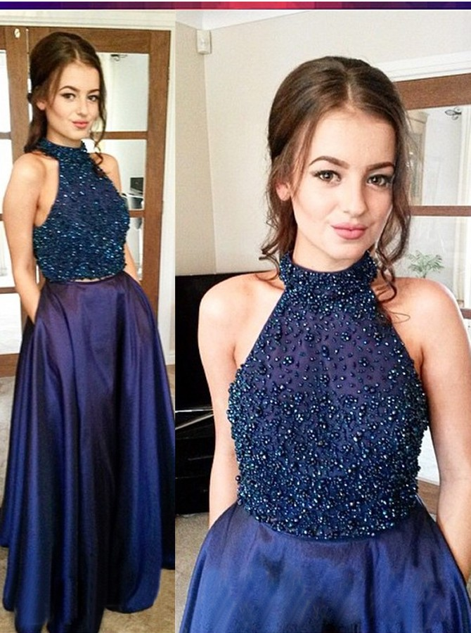 Halter Floor-Length Prom Dresses,Navy Blue Prom Dress,Two Piece Navy Blue Prom Dress with Beading