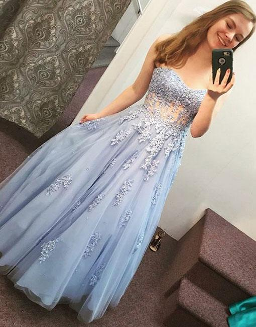 Blue Sweetheart Lace Long Prom Dress,Strapless Evening Dress,Tulle Graduation Dress