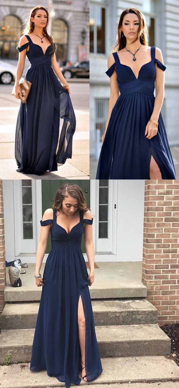 Simple Dark Blue Chiffon Long Prom Dress Dark Blue Evening Dress