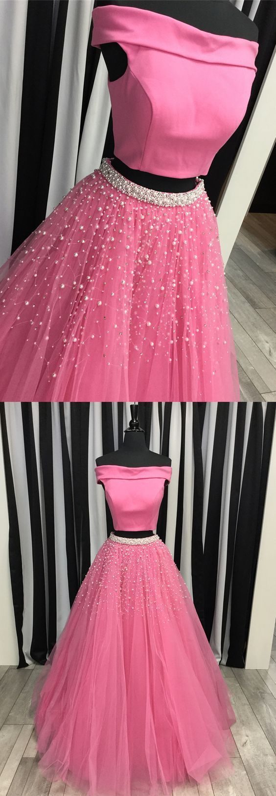 two piece ,off the shoulder ,watermelon long prom dress, 2018 prom dress with white pearls,New Fashion,Custom Made ,Sleeveless Evening Dress,New Fashion,Custom Made