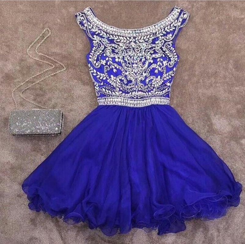 royal blue homecoming dress,crystal beaded homecoming dress,short prom dress,semi formal dress