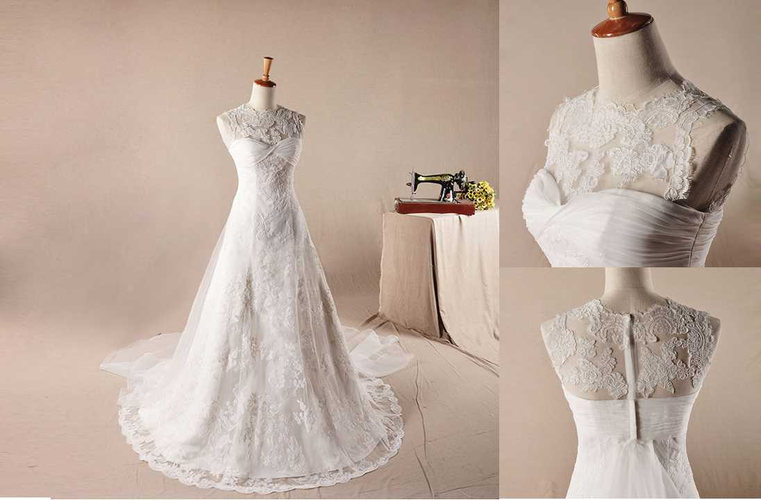 Elegant Re Embroidery Lace Decorate Neckline A Line Wedding Wedding