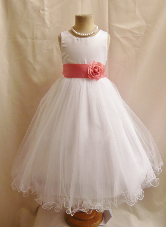 Ulass ivory laceflower girl dresses white with guava or coral ulass ivory laceflower girl dresses white with guava or coral fd0fl wedding easter junior bridesmaid for children toddler kids teen girls mightylinksfo
