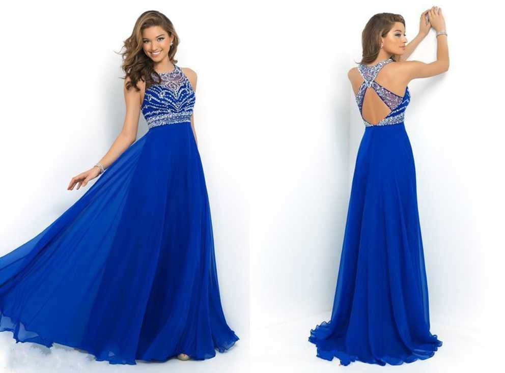 Ulass Elegant Royal Blue Chiffon A-Line Prom Dress 2015 Halter ...
