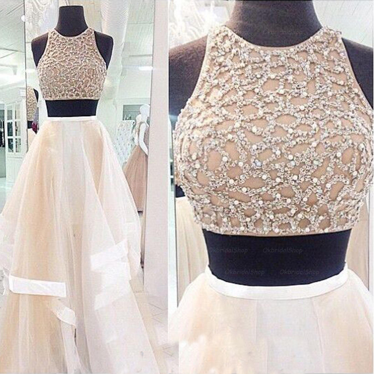 6e091d0c408fb Ulass Charming Prom Dress,Sexy 2 Piece Style Prom Dress,A-Line Prom ...