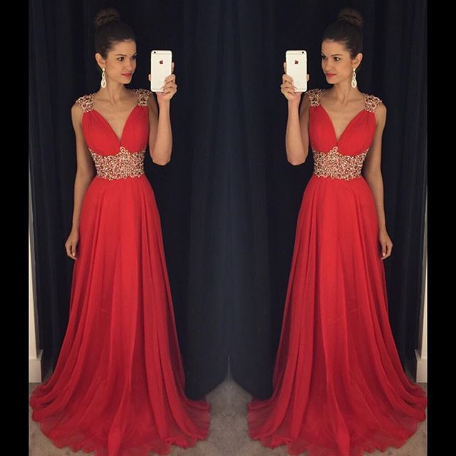 7f41d72f2f Ulass 2016 Red Long Prom Dresses V Neck Crystals Beaded Chiffon A-line  Vintage Evening Gowns for Teens