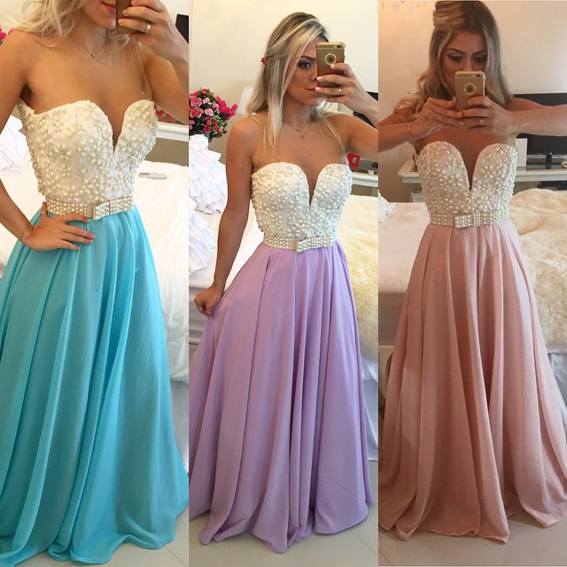 5a34563825d1b Ulass 2016 Pearls Chiffon Prom Dresses Sweetheart Neck Sheer Open Back Long  Formal Evening Gowns