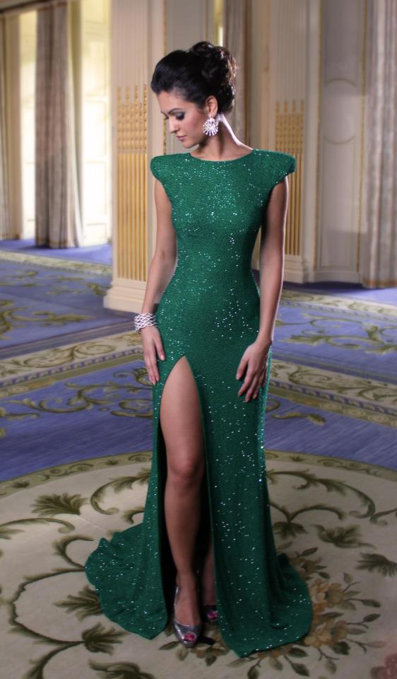 744a3c4f Ulass Sexy Capped Sleeves Split Sequins Evening Gowns Dark Green Mermaid  Prom Dresses