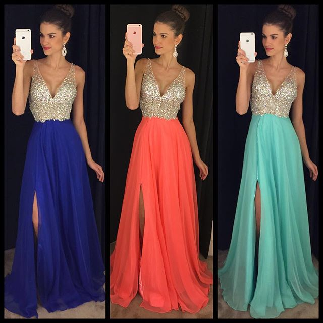 Ulass 2016 Chiffon Long Prom Dresses V Neck Crystals Side Split Royal Blue  Sexy Evening Gowns 3fcd44a61