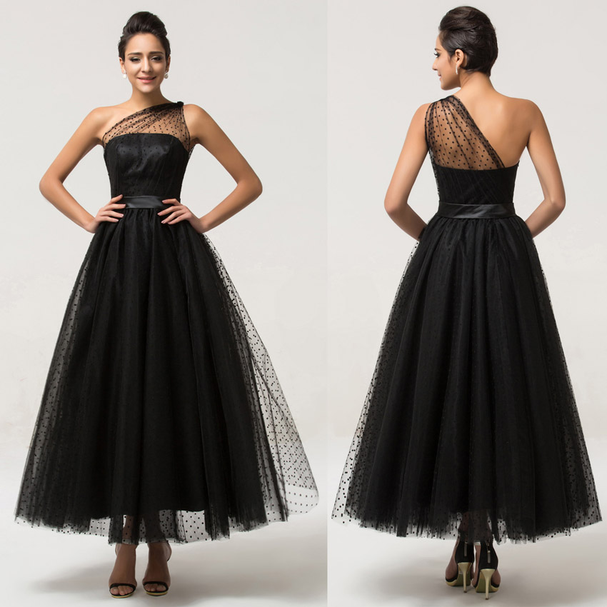 Ulass One-Shoulder-Tulle-Long-Prom-Dress-Black-Formal-Evening-Gowns ...