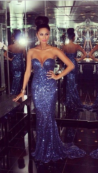 86ee62c172e Ulass Bling Bling Sweetheart Mermaid Chapel Train Dark Blue Sequins 2016 Prom  Dress Long Prom Gowns On Sale Pageant Gowns Party Dress