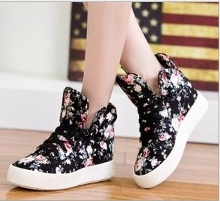 Ulass Floral shoes soled platform shoes high shoes casual canvas shoes