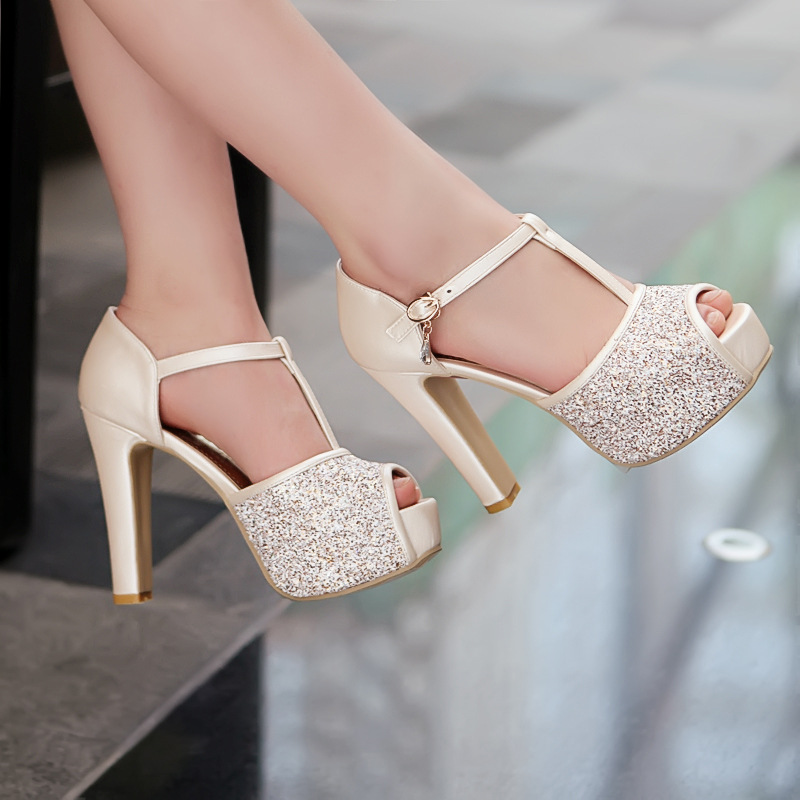 Peep-Toe Glittery High Heel Pumps with Charm Embellishments