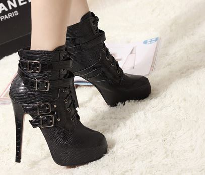 Ulass Black PU Fabric Sexy Vintage Style Buckle Ultra High Heel Faux Leather Platform Boots