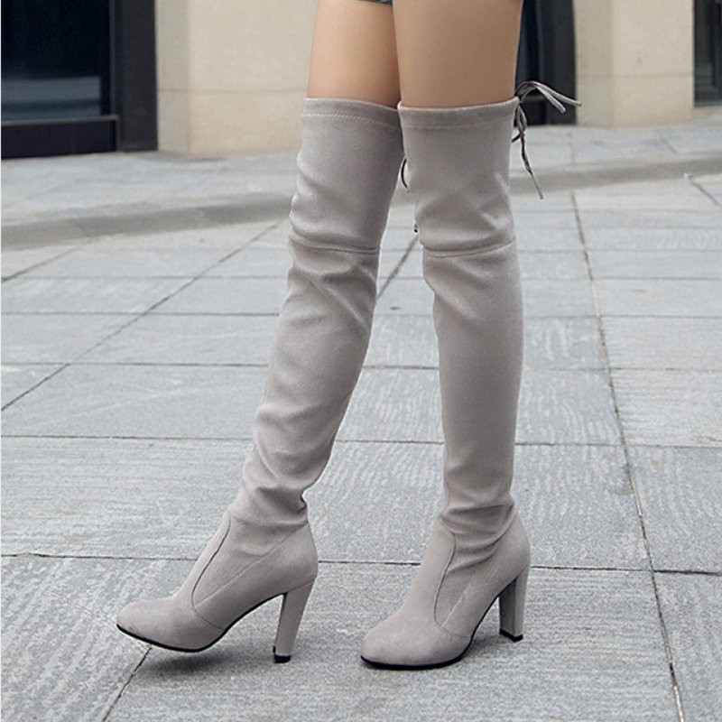 Faux Suede Rounded-Toe High Heel Over-The-Knee Boots