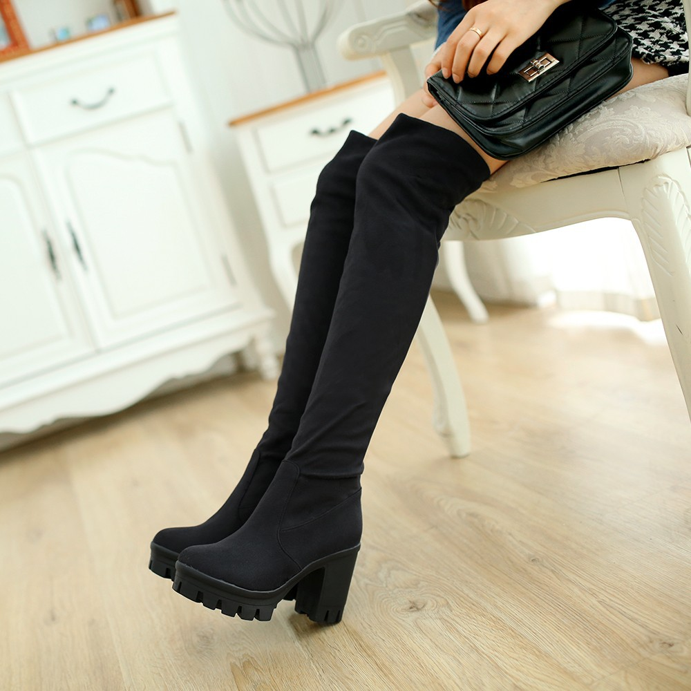 Ulass Women Faux Suede Stretch Tight Over the Knee Boots Sexy Fashion Thick Heels High Boots Shoes Black Brown