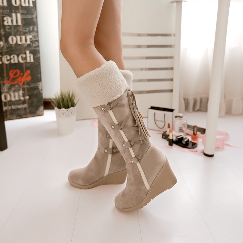 511eed9d84ba Ulass 2016 New Winter Snow Bots Slope with High Boots After Lace Tassel Boots  Warm Winter Boots Female High-Heeled Boots