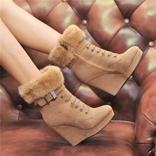 Ulass Women Boots Platform Wedge Boots Ladies Ankle Boots Winter with Zipper Rivets Autumn Heels Shoes Black Brown 34-39